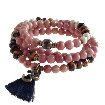 Rhodochrosite and Tiger´s Eye Beaded 108 Bead Mala Necklace Or Bracelet