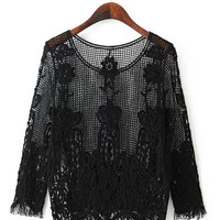 Fringed Lace Long Sleeve Crochet Shirt