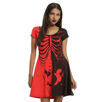 Color Block Halloween Skeleton Print Dress