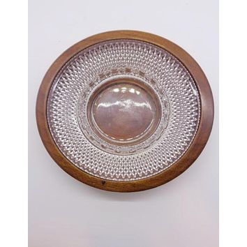 Diamond Cut Glass Ashtray With Wooden Base