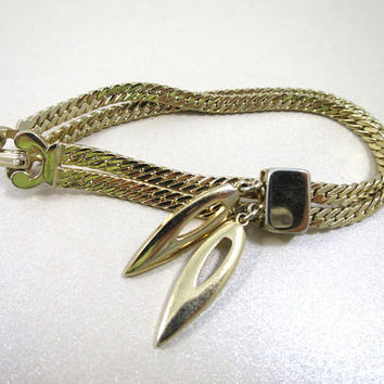Monet Charm Bracelet MidCentury Double Herringbone Chain Link w/ Double Elongated Oval Charms 1950's Vintage Modern Fashion Jewelry