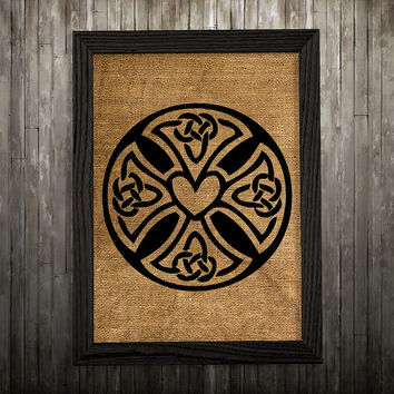Celtic print Burlap art Celtic cross poster Symbol print BLP603