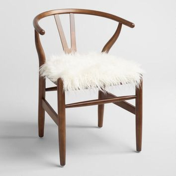 Ivory Flokati Donnan Wishbone Chair
