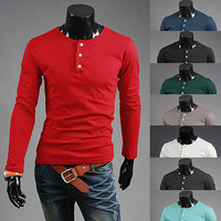 Slim Fit Fashion Men Smart Grandad Long Sleeve T-Shirt