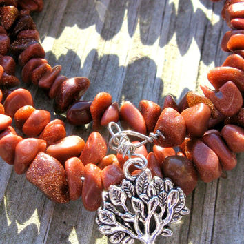 Goldstone Tree Memory Wire Bracelet
