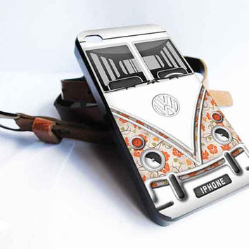 Volkswagen Camper Van - Flowers for iphone 4/4s/5/5s/5c ,samsung galaxy s3/s4/s5 and ipod 4/5 case