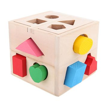 13 Holes Intelligence Box Wooden Shape Sorter Baby Cognitive and Matching Building Blocks Kids Children Early Educational Toys