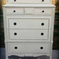 Annie Sloan Chalk Painted Chest of Drawers/Antique Dresser/Painted Furniture