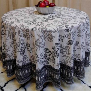 "Handmade 100% Cotton Elegant Floral Tablecloth 90"" Round Gray White"