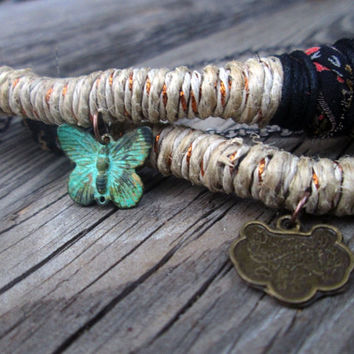 Upcycled Fabric , Wrapped , Hemp , Fiber Necklace , Verdigris Butterfly . Asian Charm , Boho Fiber Necklace , Vegan Jewelry