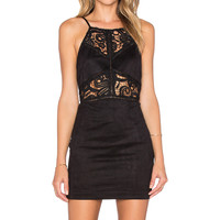 J.O.A. Lace Cut Out Bodycon Dress in Black