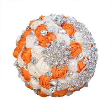 Stunning Brooch Wedding Bouquet Satin Roses Lace Handle