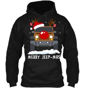Merry Jeep-Mas Funny Punny Christmas Jeep Reindeer  Pullover Hoodie 8 oz