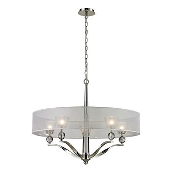 5 light chandelier in Polished Nickel