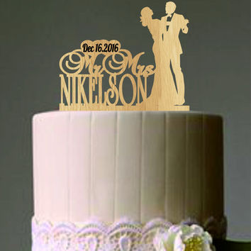 Mr and Mrs wedding cake topper - groom and bride dancing cake topper - custom wedding cake topper - Rustic Wedding cake topper