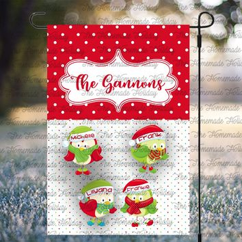 Personalized Christmas Birds Lawn Flags