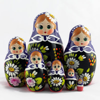 Matryoshka Russian Nesting Doll Babushka Beautiful Purple Headscarf Set 7 Pieces Pcs Hand Painted Wooden Souvenir Handicraft Craft