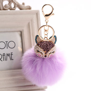 Crystal Fluffy Fox Pompom Key Chain