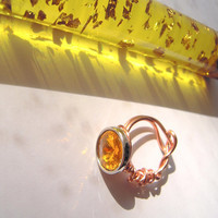 OOAK ring ~ size 8 ~ lovely deep faux citrine ~ copper wrapped ~ adults kids ~ prom ~ birthday ~ made in USA
