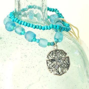 Lace Sand Dollar Charm Bracelet with Hawaiian by BoutiqueVintage72