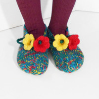 Knitted Slippers, Teal and Turquoise with Yellow and Red Bellflowers, Women Slippers