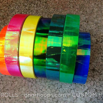 Palm Aurora Color-Change Rainbow Morph Hula Hoops - Custom Polypro, HDPE, Beginner Hoop - Green, Yellow, Cyans