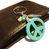 Turquoise Peace Sign Keychain, Cool Car Accessory, Southwestern Key Chain, Feather Charm Key Ring, Wire Wrapped Yellow Jade and Swarovski