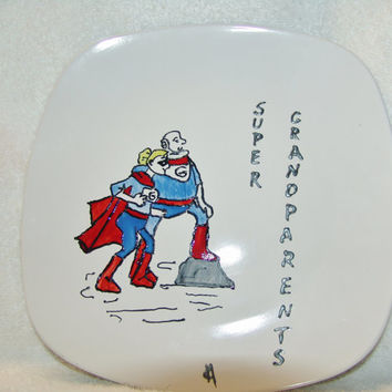 Super Grandparents hanging plate, Hand painted decorative plate, Grandparents plate