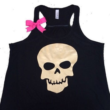 Skull Tank - Metallic - Ruffles with Love - Skull - Fun Tank - Workout Tank - Womens Fitness