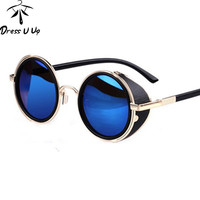 STEAMPUNK Retro COATING Vintage Round Sunglasses  Designer Sun Glasses