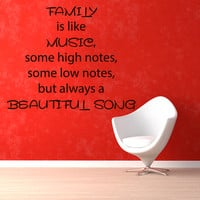 Wall Decals Love Quote Family Is Like Music Song Notes Vinyl Decal Sticker Living Room Interior Design Home Art Mural Kids Room Decor KG259
