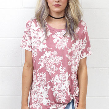Floral Scroll Get Twisted Short Sleeve Top {Rose Mix}