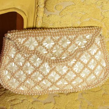 Vintage Pearl Beaded Bridal Clutch Bag