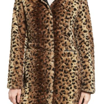 Via Spiga Reversible Faux Leopard Fur Coat | Nordstrom