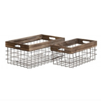 Set of 2 Wood and Wire Baskets