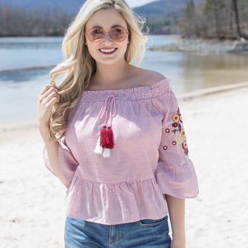 Meriverie Off The Shoulder Top, Red