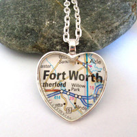 Fort Worth Map Necklace, Heart Pendant, Texas