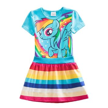 My Baby Princess Kids Unicorn Cotton Striped Cartoon Little Pony Summer Dresses For Girls Infantil Children Vestidos Clothing