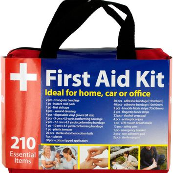 First Aid Kit Easy Access Carrying Case 210 Pieces