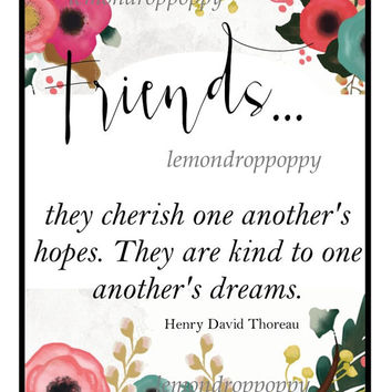 Friend art print, digital download, floral friendship art, bff gift, love quote prints, home office wall art, apartment wall decor, art gift
