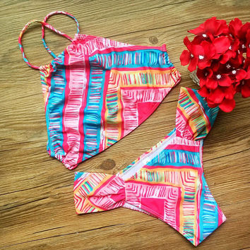 Summer Swimsuit Hot Beach New Arrival Print Geometric Sexy Ladies Swimwear Bikini [4970317252]