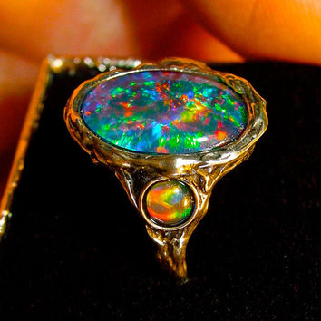 Vivid Australian Opal ring. Top Gem Grade Natural Opal Triplet. Large Opal 14x10mm w/4mm accents. Hand Crafted in S.S,14K, OR 10K solid Gold