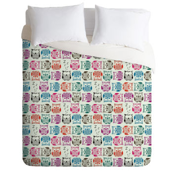 Sharon Turner Light Sherbet Owls Duvet Cover