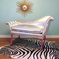Vintage HOLLYWOOD REGENCY Silver Curvy FRENCH Button Tufted Settee / Chair / Sofa