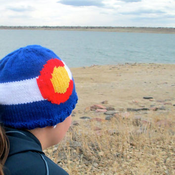 Colorado flag hat - adult size, hand knit, pony tail hole