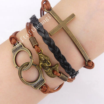 cross,mermaid, & Handcuffs Charm Bracelet Antique bronze--Wax  Cords braid Leather bracelet-- friendship gift 441