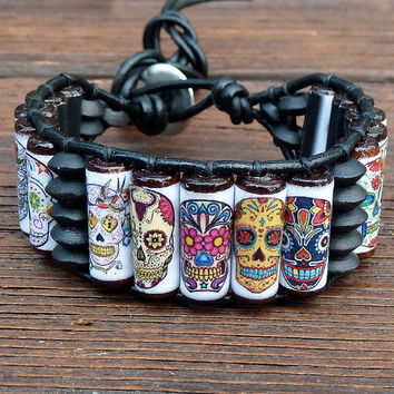Sugar Skull Cuff Bracelet - Black Leather, Dia De Los Muertos, Day of the Dead Skulls
