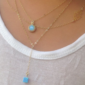 Set of 3 layering necklaces, 14k gold filled necklace, opal necklace, turquoise necklace, hamsa necklace,luck necklace,  -20080