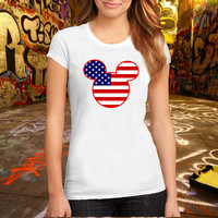Mickey Mouse USA flag icon T Shirt antique cherry T Shirt Printed T Shirt, Women T Shirt, (Various Color Available)