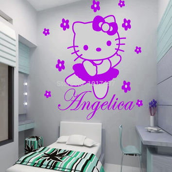 HELLO KITTY fairy Personalised name Wall Sticker Art Decal Vinyl Kids girl room Decorative Free Shipping c2065